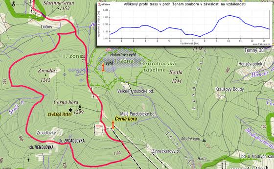 Velký okruh na Černou horu přes Zrcadlovky (na záznamu trasy je vidět zkrácení