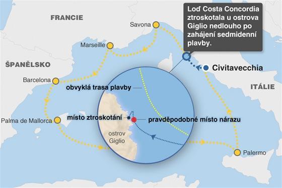 MAPKA: Ztroskot�n� Costa Concordia