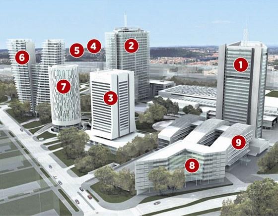 Území mrakodrapů. Celkový pohled na Pankráckou pláň, jak měla vypadat, kdyby