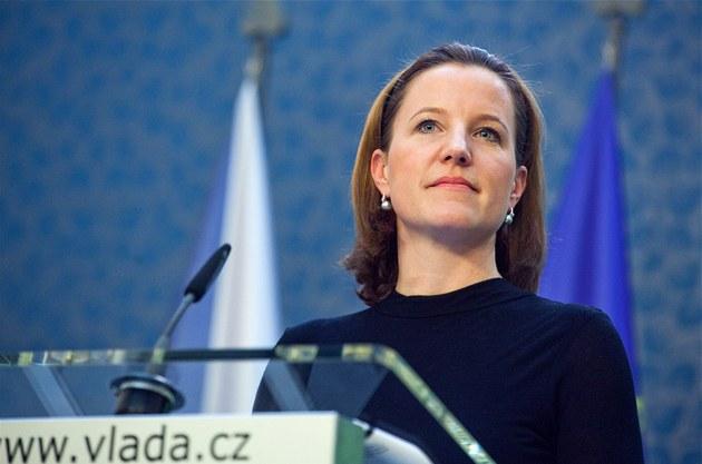 Karolína Peake (VV) během tiskové konference po jednání vlády, která...