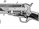 Revolver s otáčivým bubínkem. Samuel Colt ho vymyslel, patentoval a masově