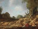 Pieter de Molyn: Venkovská cesta s odpočívajícími poutníky