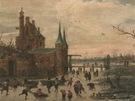 Esaias van de Velde: Brusl��i p�ed m�stsk�m� hradbami