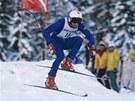 Rakouský sjezdař Franz Klammer při Světovém poháru v Schladmingu.