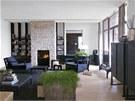 Obývacímu prostoru vévodí krb zasazený do stěny z pískovce. Podlahu pokrývá