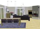 Pohled do obývací kuchyně