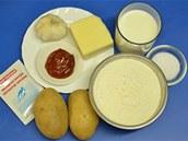 Ingredience potřebné na přípravu bramborových langošů