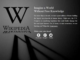 Anglická verze Wikipedie se na protest proti chystaným americkým zákonům