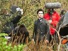 Daniel Radcliffe při natáčení filmu Žena v černém