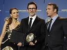 Herci z filmu Umělec Jean Dujardin a Bérénice Bejoová pózují s francouzským