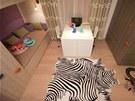"""Na laminátovou podlahu použili designéři místo klasického koberce """"kůži"""" zebry."""