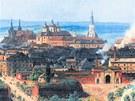 Dobové panorama Olomouce z konce 19. století. Pohled od jihozápadu, vlevo
