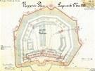 Raportní plán pevnůstky s názvem Fort XVII. v Křelově u Olomouce z roku 1878.