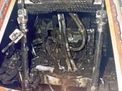 Pohled do ohořelé kabiny Apolla 1