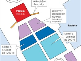 Schéma umístění a rozdělení amfiteátru pro koncert světoznámého tenoristy