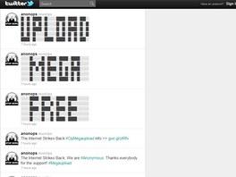 Diskuze na Twitteru týkající se útoků na vládní stránky a stránky autorských a