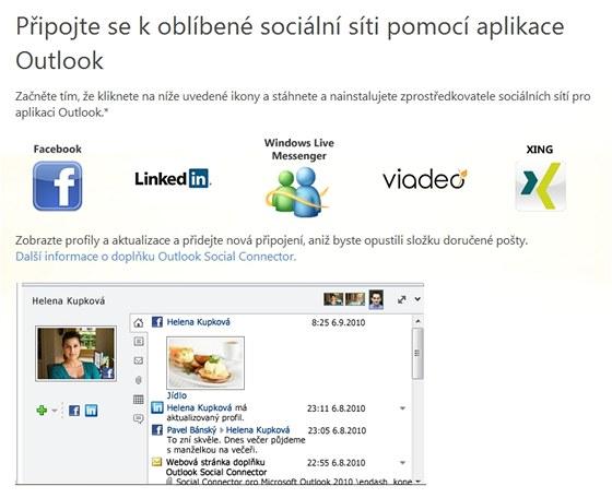 Propojení Outlooku se sociálními sítěmi doplní k vašim kontaktům v adresáři