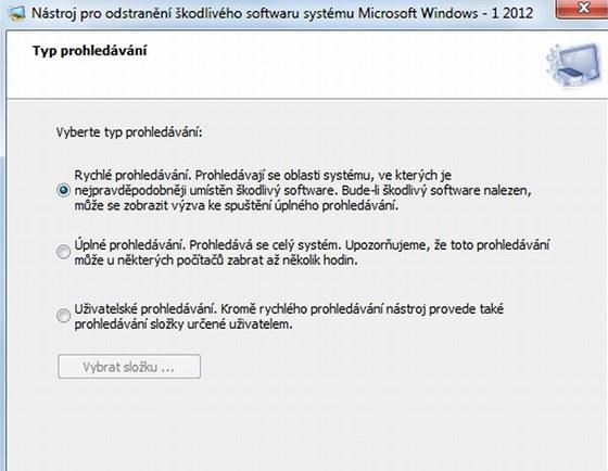 Nástroj pro odstranění škodlivého softwaru zkontroluje obsah vašeho počítače a