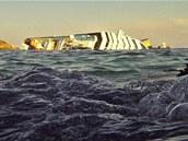 Vrak lodi Costa Concordia u ostrova Giglio (5. února 2012)