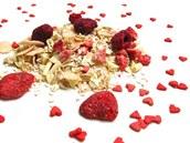 Valentýnská směs na přípravu müsli obsahuje také cukrová srdíčka