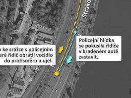 MAPA: Jak se policejní hlídka na Strakonické ulici v Praze pokusila zastavit řidiče v kradeném autě.