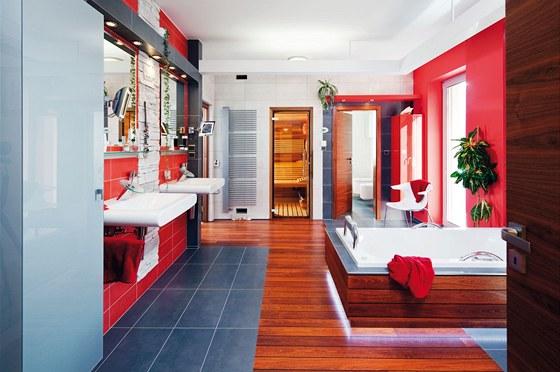 Prostorná koupelna s plochou 20 m2 sousedí se saunou a atriem s venkovním