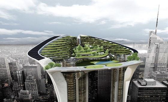 Vizualizace: detail vrcholu mrakodrapu