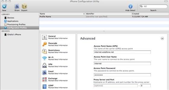 Program iPhone Configuration Utility lze použít pro snadné nastavení mobilů