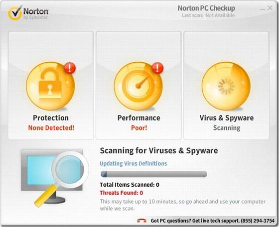 Během kontroly identifikuje Norton PC Checkup hlavní problémy zabezpečení