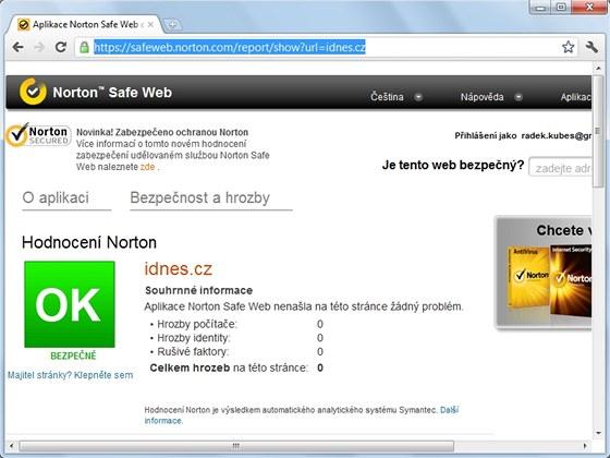 Online služba Norton Safe Web prověří bezpečnost jakékoli internetové stránky,