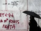 Posprejovaná fasáda řecké národní banky (13. února 2012)