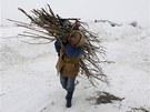 Rumunka z vesnice Daja si nese d��v� na otop (10. �nora 2012)