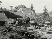 Slovácká búda v Luhačovicích na snímku z roku 1930