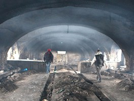Pracovníci charity v rozpadajícím se statku ve Skřivanech, kde žije bezdomovec