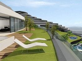 Vizualizace:detail zelených teras na vrcholu mrakodrapu