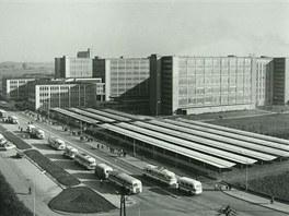 Pohled na areál Oděvního podniku Prostějov v šedesátých letech minulého