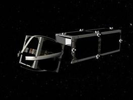 Vizualizace satelitu CleanSpace One při zachycení staré družice