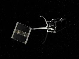 Vizualizace satelitu CleanSpace Onem při lovu staré družice