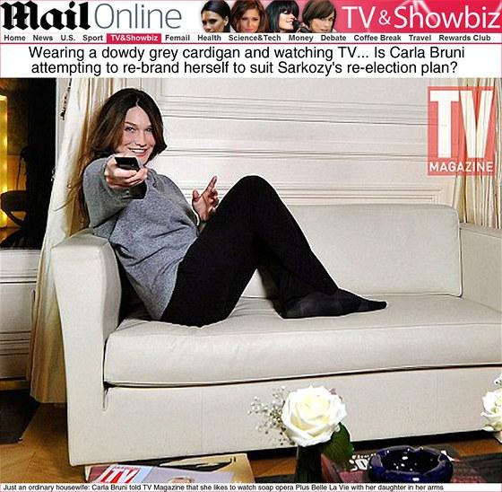 Carla Bruni p�i sledov�n� televize