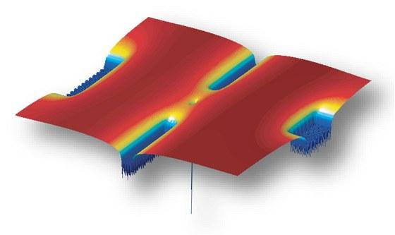 Tranzistor z jedin�ho atomu fosforu (uprost�ed) um�st�n�m na k�em�kov�m