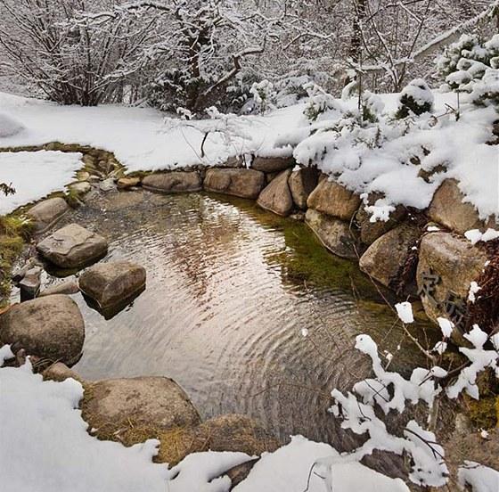Jedna ze zahradních cestiček vede po velkých kamenech přes vodu, nechybí tu ani