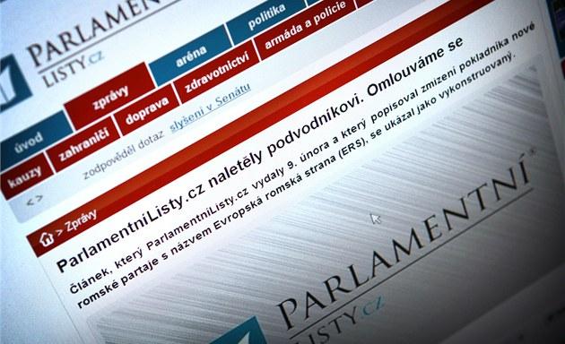 Omluva na webu ParlamentníListy.cz