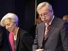 Premi�r Lucemburska Jean-Claude Juncker a ��fka MMF Christine Lagardeov� jdou
