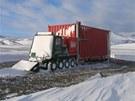 Po vyložení posloužily kontejnery na přespání stavbařů. I když bylo -10 °C...