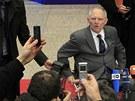 Německý  ministr financí Wolfgang Schäuble přijíždí na jednání  eurozóny v Bruselu o pomoci Řecku. 20. února 2012
