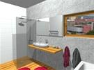 Sprchový kout s odtokovým kanálkem je v levé části místnosti.