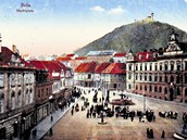 Starý a dnes už zbořený Most na pohlednici z přelomu 19. a 20.