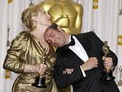 Vítězové kategorií herec a herečka v hlavní roli se baví: Jean Dujardin na