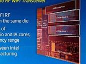 Modul bezdrátové sítě (RF Transceiver) zabírá na čipu Atom poměrně mnoho místa.