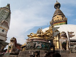 Pozlacen stpa v Swayambhunath